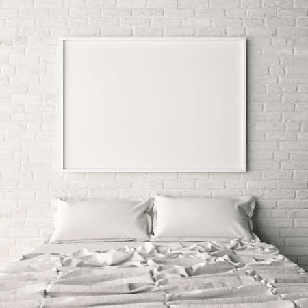 frame wall: Empty poster on white brick bedroom wall, 3d illustration