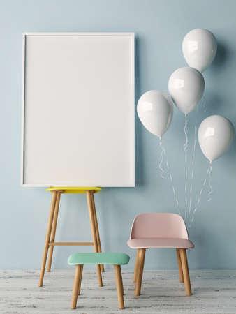 Hoek van kinderkamer, Leeg poster, 3d illustratie