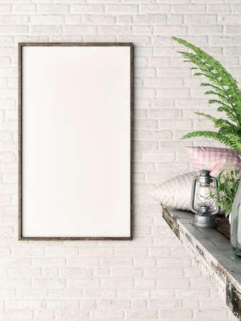 White vertical mock up frame, hipster background, 3d illustration