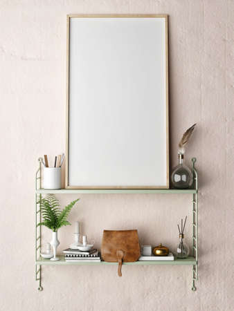 mock up poster frame in hipster shelf, 3D illustration
