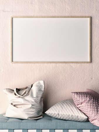 Bespotten omhoog kader op roze muur, bank, hoofdkussens en zak, 3d illustratie Stockfoto