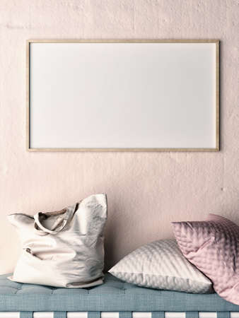 Mock up frame on rose wall, sofa, pillows and bag, 3d illustration Banque d'images