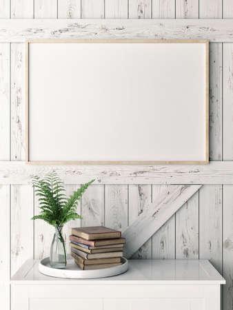 Sluit omhoog lege affiche op houten plankmuur, 3d illustratie