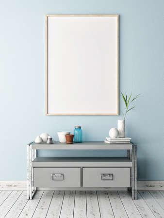Mock up poster on table in room - 3D illustration Banco de Imagens
