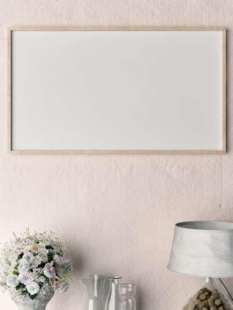 Close-up blanco poster op roos gips muur, 3d illustratie Stockfoto