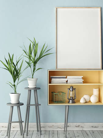 Empty modern style frame, blue wall background, 3D illustration