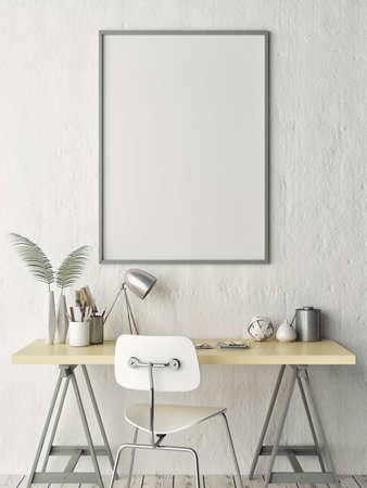 Mock up poster, werk kantoor idee, 3d illustratie Stockfoto