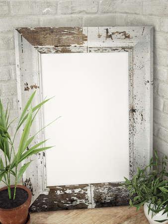 Oud houten frame op corer, 3d illustratie