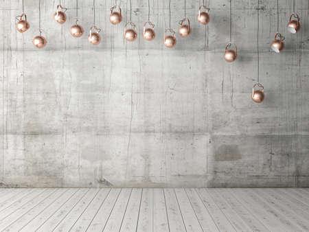 電球、背景、3 d イラストレーションとコンクリートの空の壁