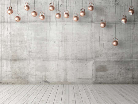 Concrete empty wall with light bulbs, background, 3d illustration