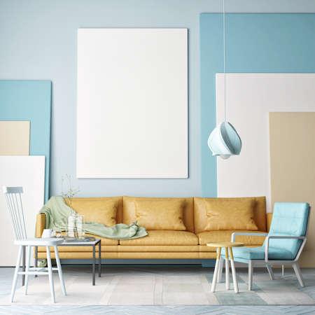 Mock up poster, colorful composition in room, 3d illustration