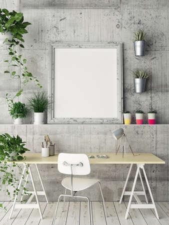 Mock up poster, office space, 3d illustration Imagens
