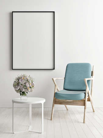 Blank poster with chairs and armchairs, Scandinavian design interior, 3d illustration Imagens