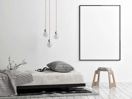 Mockup poster with comfortable sofa, Scandinavian Living room design, 3d illustration Imagens