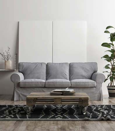 Mockup poster with comfortable sofa, Scandinavian Living room design, 3d illustration Banque d'images