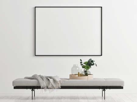 Mockup poster on the sideboard in the loft, 3d illustration Banque d'images - 159149248