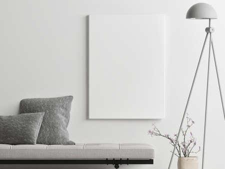 Mockup poster with decoration for product presentation, 3d illustration