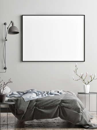 mockup poster with vintage hipster loft interior background, 3D rendering Banque d'images - 159149257