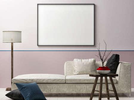 Mockup poster in bedroom interior design, 3d illustration. Banque d'images - 159149290