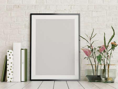 Mockup poster with decoration for product presentation, 3d illustration Imagens - 159149293