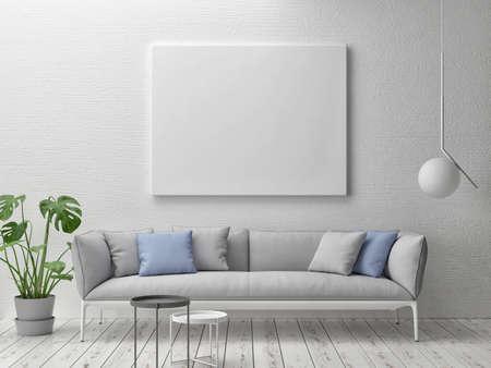 Mockup poster with comfortable sofa, Scandinavian Living room design, 3d illustration