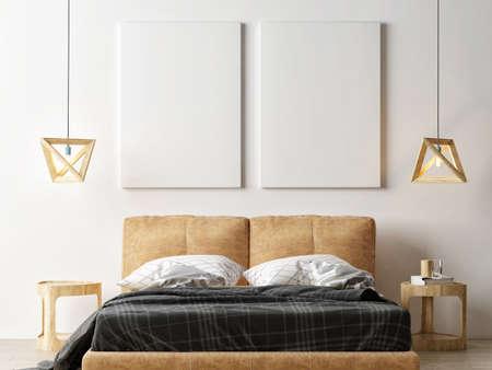 Mockup poster in bedroom interior design, 3d illustration. Banque d'images - 159145682