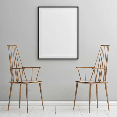 Blank poster with chairs and armchairs, Scandinavian design interior, 3d illustration Imagens - 159145821