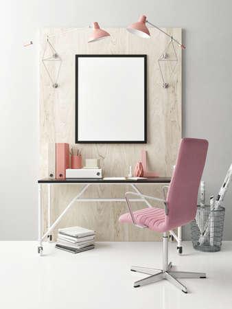 Mock Up workspace, a poster on the table, 3d illustration Banque d'images - 159145722