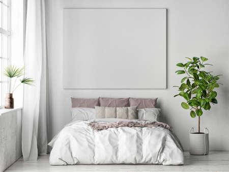Mockup poster in bedroom interior design, 3d illustration. Imagens - 159145706