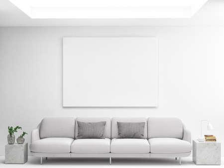 Mockup poster with comfortable sofa, Scandinavian Living room design, 3d illustration Foto de archivo