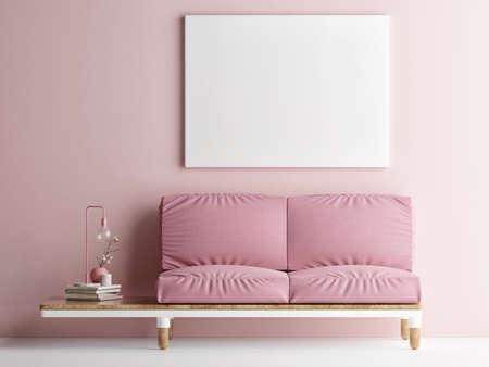 Mockup poster, Livingroom interior design with comfortable sofa, 3d illustration Banque d'images - 159145780