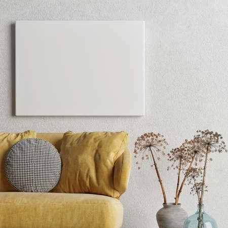 Mockup poster, Livingroom interior design with comfortable sofa, 3d illustration