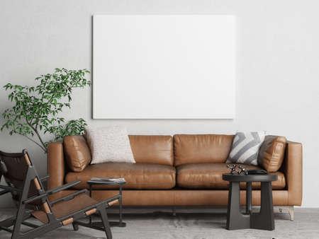 Mockup poster, Livingroom interior design with comfortable sofa, 3d illustration Banque d'images - 159149303