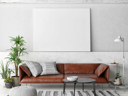 Mockup poster, Livingroom interior design with comfortable sofa, 3d illustration