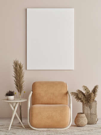 Blank poster with chairs and armchairs, Scandinavian design interior, 3d illustration Banque d'images - 159145741