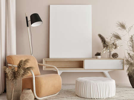 Blank poster with chairs and armchairs, Scandinavian design interior, 3d illustration