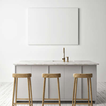 Mockup poster in the kitchen and dining room area interior design, 3d iilstrađtion.