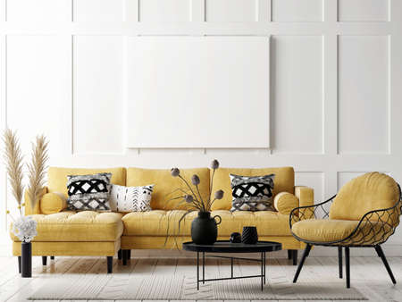 Mockup poster in pure Scandinavian style living room interior with home decoration, 3d render, 3d illustration Banque d'images - 159809348