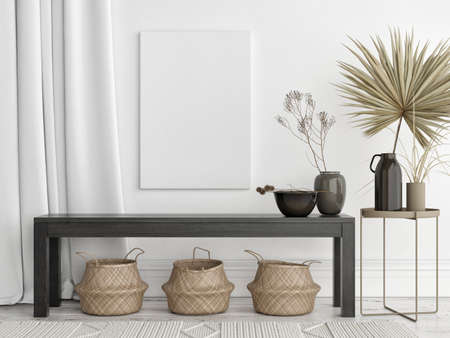Mockup poster in pure Scandinavian style living room interior with home decoration, 3d render, 3d illustration Banque d'images - 159809709
