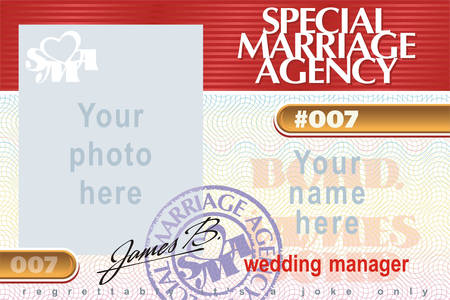 Identity card Special Marriage Agency 007 Vector
