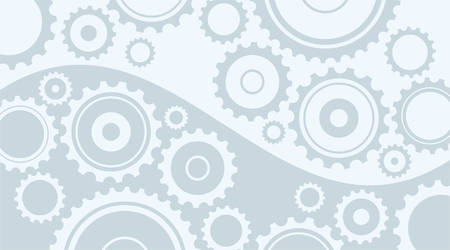 toothed: Horizontal abstract light gray background in technical style with gear and cogwheels Illustration