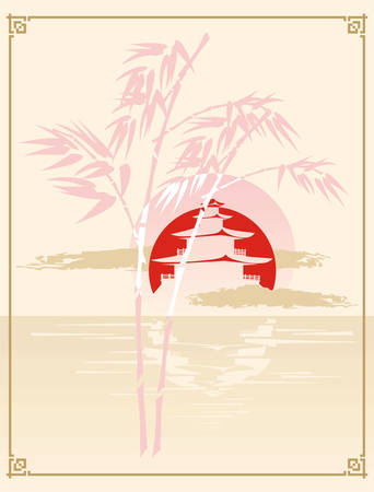 Background in japanese style with bamboo and pagoda Vector