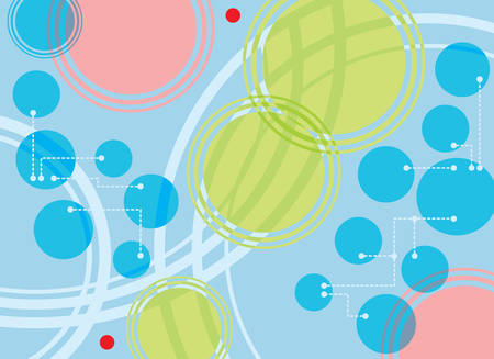 publicity: Technical background with circles, points and dotted lines Illustration