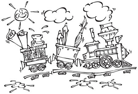 train with pencils and brushes. Stylization  drawing for design of the publishing, text, illustration for children. Vector
