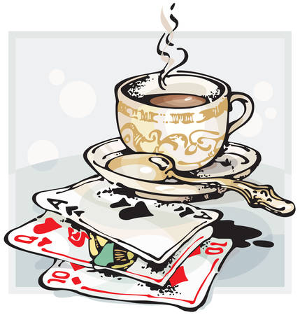 vapour: Cup of Coffee and Playing Cards. Vector illustration with scalable size.