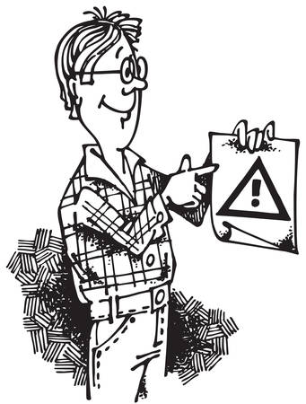 restricted: Young man with Attention Sign. Vector illustration with scalable size.
