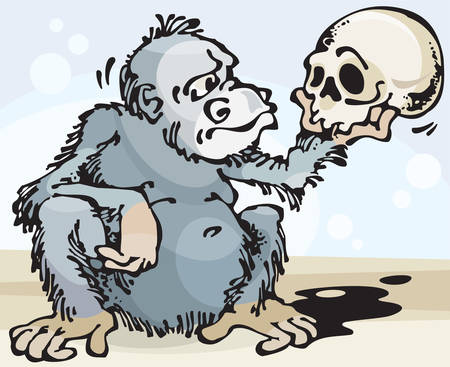 monologue: Monkey and Skull. Vector illustration with scalable size.