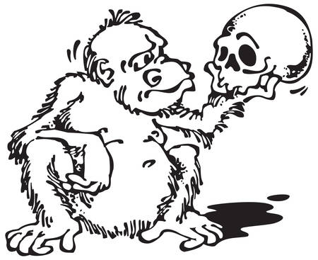 Monkey and Skull_Black. Vector illustration with scalable size.