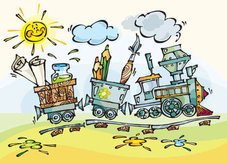 train with pencils and brushes. Stylization  drawing for design of the publishing, text, illustration for children. Stock Illustration - 3409931