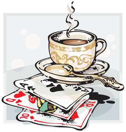 king and queen of hearts: Cup of Coffee and Playing Cards